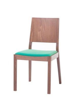 Scaun din lemn de stejar, tapitat cu stofa Lyon Walnut / Green 514, l46xA58xH86 cm