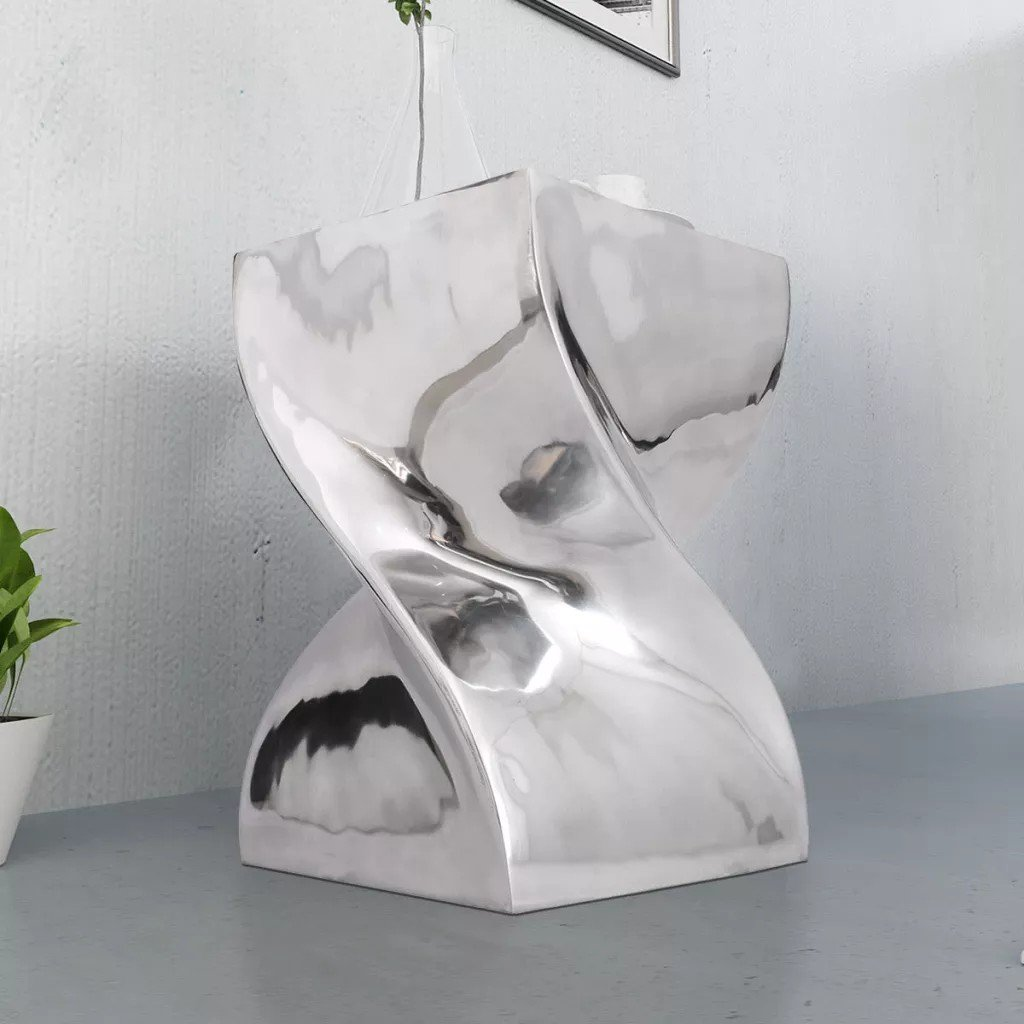 Scaun/Masă laterală cu formă răsucită, aluminiu, argintiu