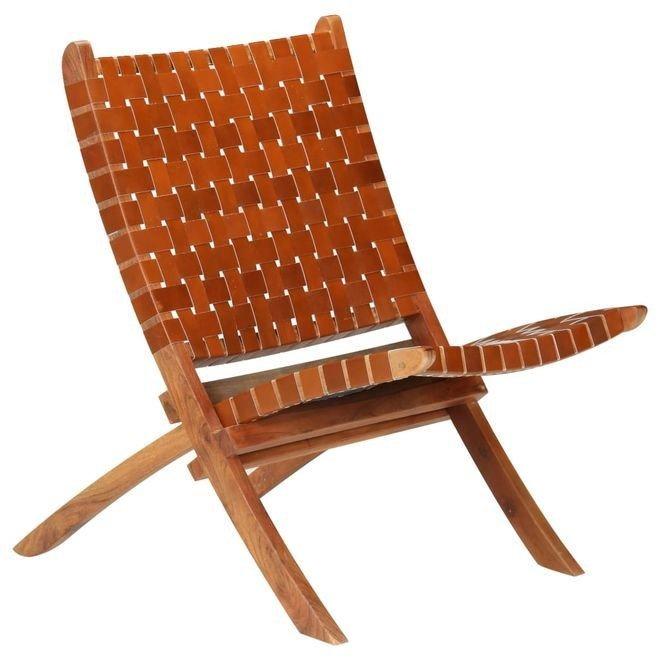 Scaun relaxant, piele naturală, 59x72x79 cm, împletit, maro