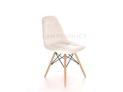 Scaun tapitat cu piele ecologica si picioare de lemn Iars White, stil scandinav