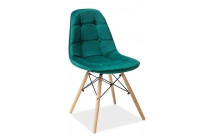 Scaun tapitat cu stofa, cu picioare din lemn Axel III Green, design scandinav,