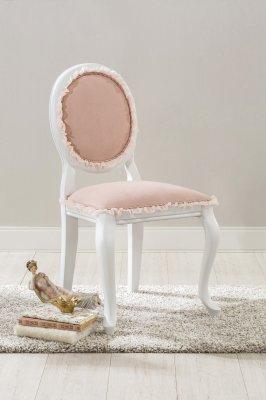 Scaun tapitat cu stofa Dream Pink, din lemn de fag alb