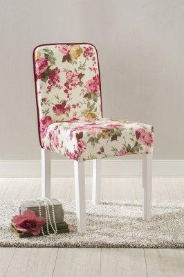 Scaun tapitat cu stofa Summer Multicolor, imprimeu floral