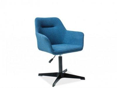 Scaun tapitat Kubo, inaltime reglabila, albastru/negru, tapitat, design modern