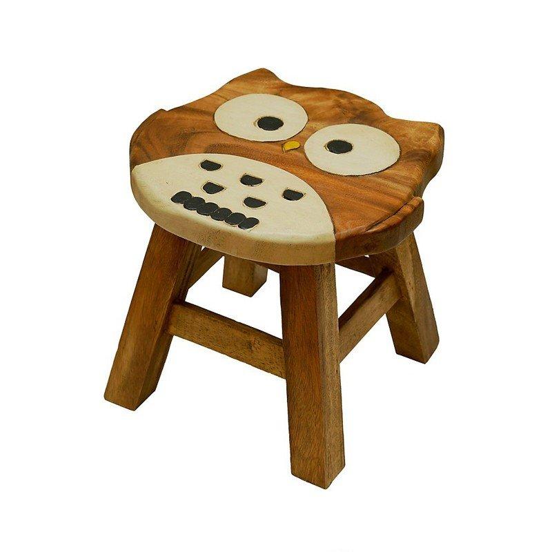 Scaunel pentru copii Bufnita, rotund, lemn masiv