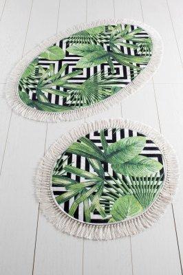 Set 2 covoare ovale Tropic, imprimeu frunze, anti-alunecare