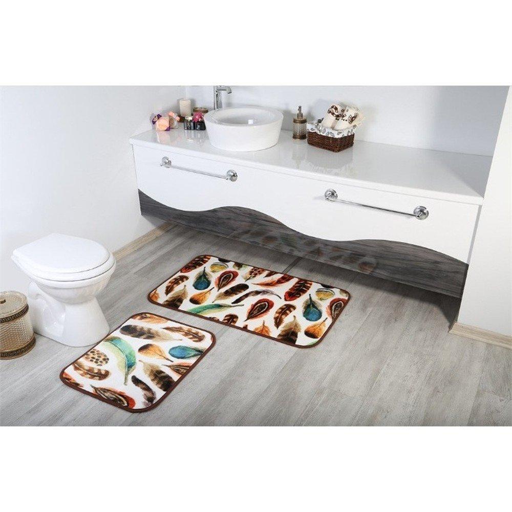 Set 2 covorașe pentru baie din bumbac Aksu Tuy cu imprimeu cu pene multicolor