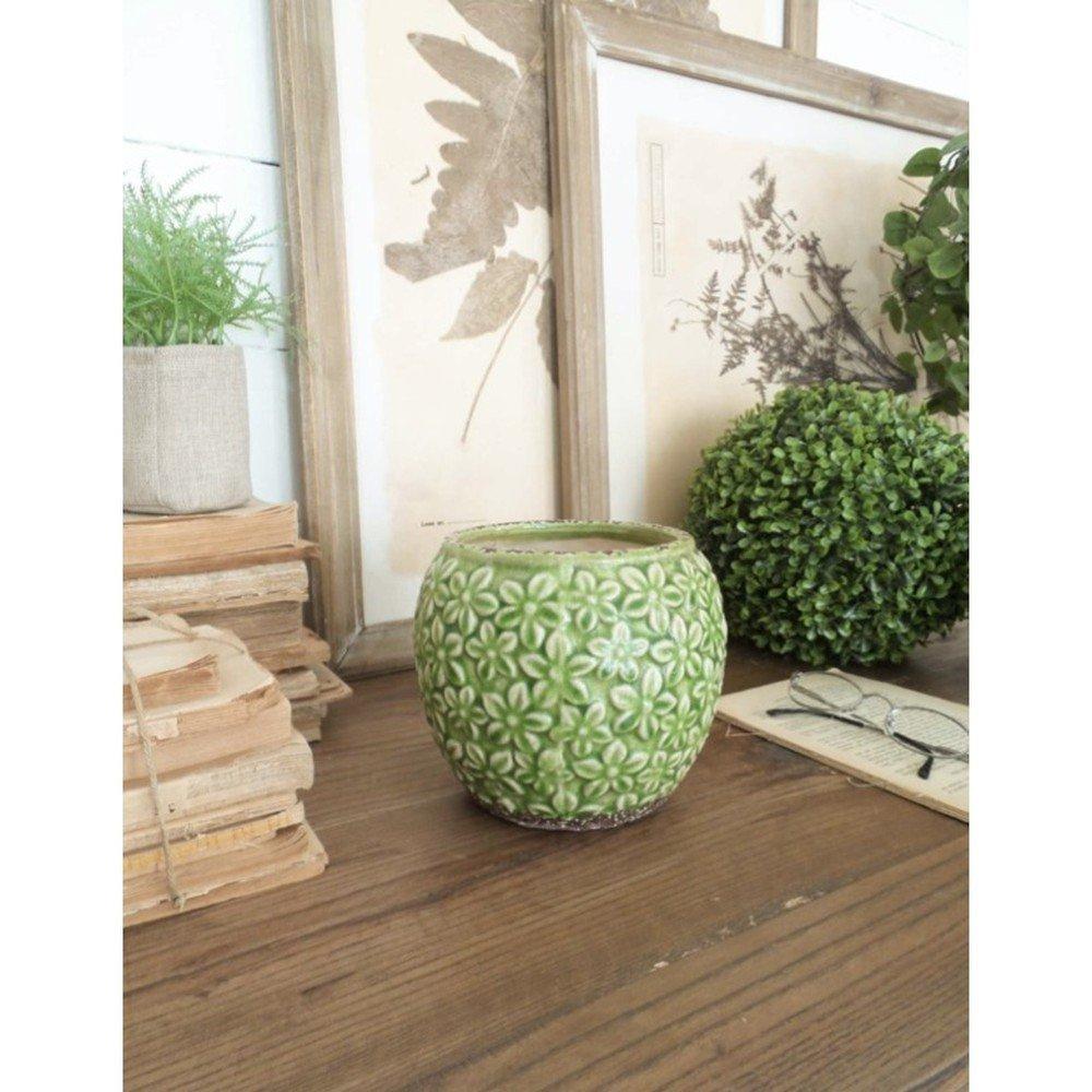 Set 2 ghivece din ceramică Orchidea Milano, înălțime 14 cm, verde