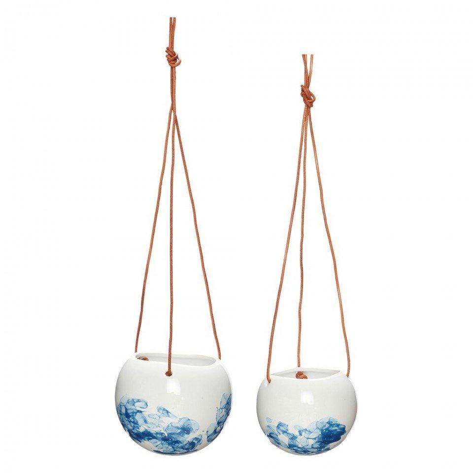 Set 2 ghivece suspendate din ceramica 11x9 si 13x11 cm Hubsch, alb-albastre