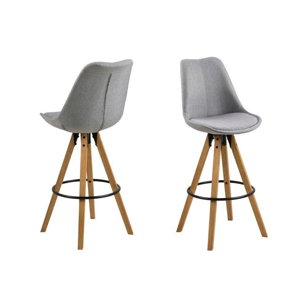 Set 2 scaune de bar Actona Dima, gri deschis cu picioare din lemn