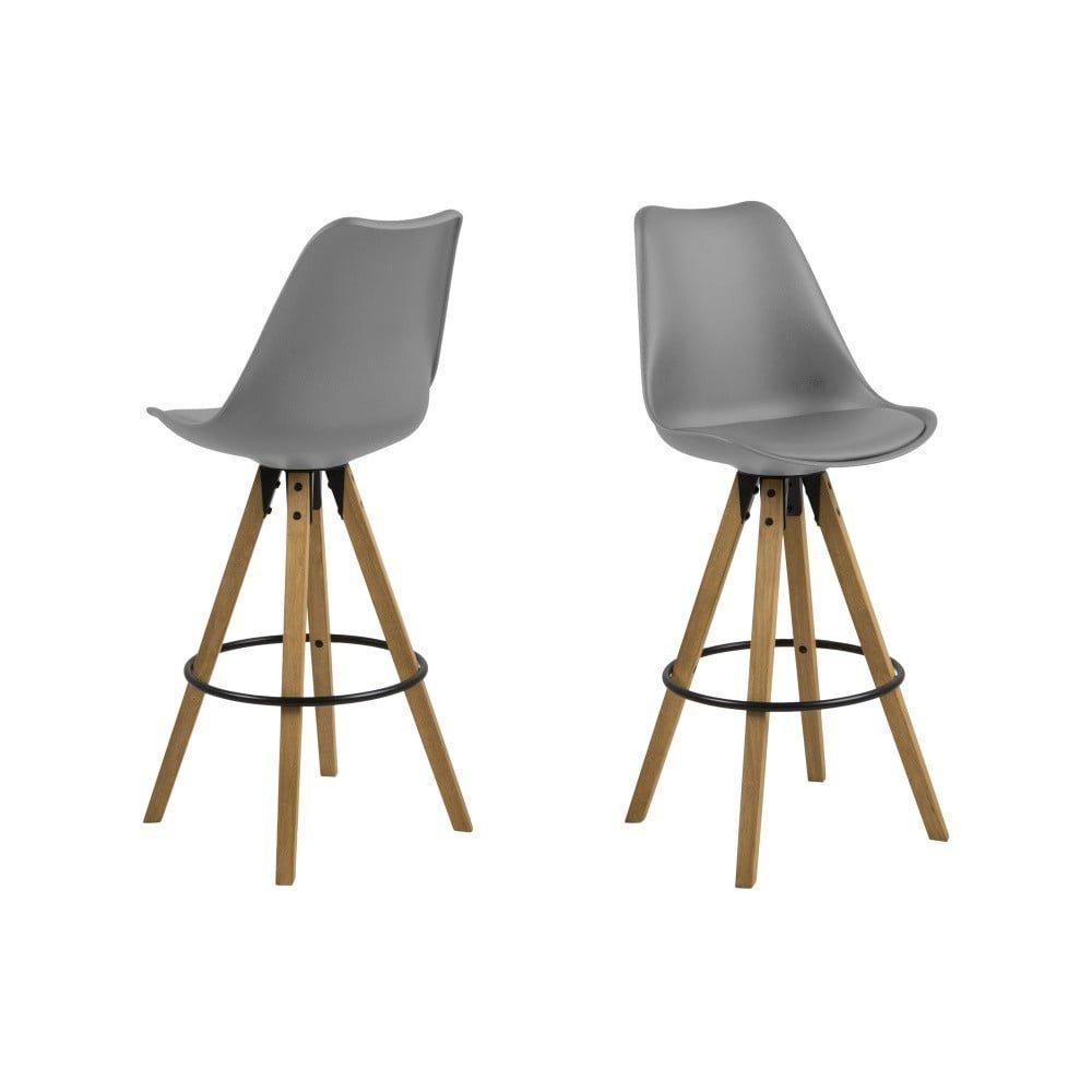 Set 2 scaune de bar Actona Dima, gri, cu picioare dinn lemn