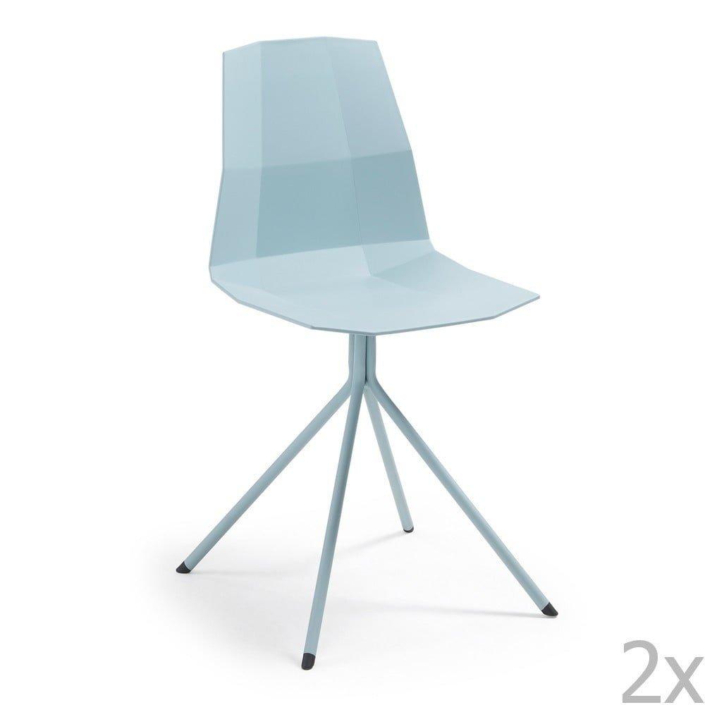 Set 2 scaune de bucatarie La Forma Pixel, albastru