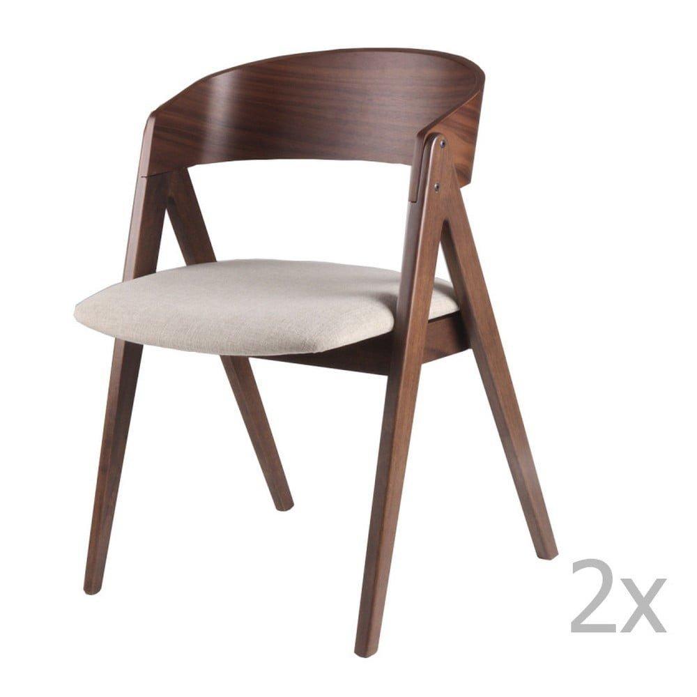 Set 2 scaune smcasa Rina, bej, nuc
