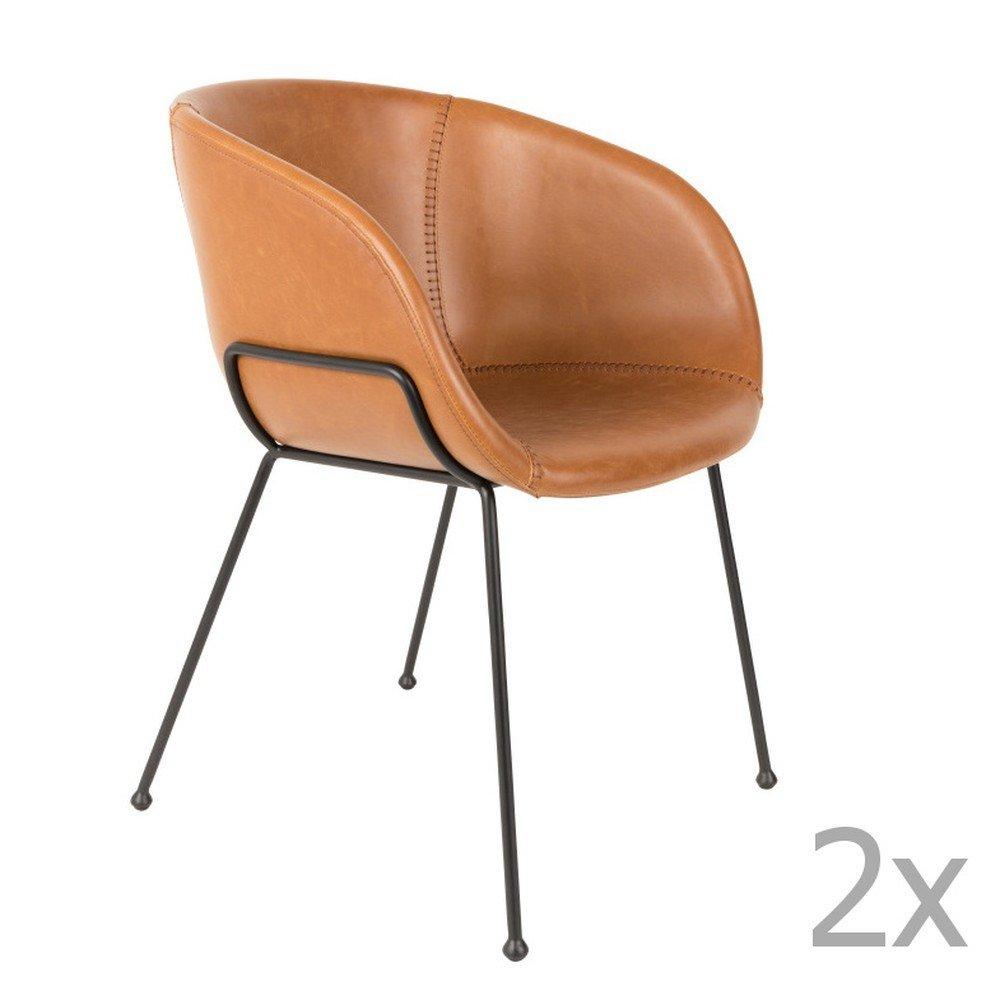 Set 2 scaune Zuiver Feston, maro, piele ecologica