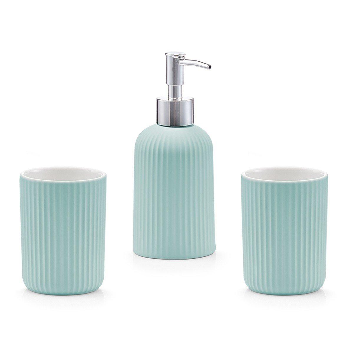 Set 3 accesorii pentru baie din ceramica, verde Mint