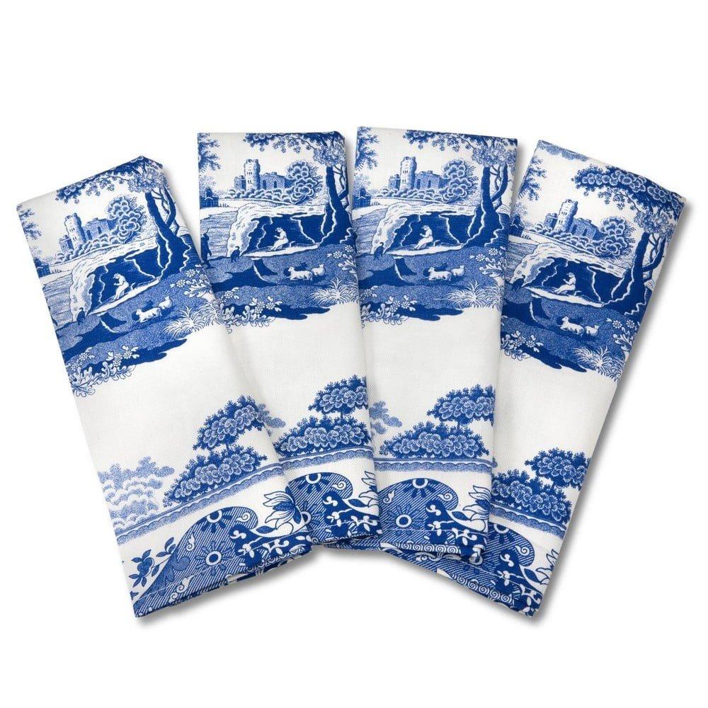 Set 4 prosoape din bumbac Spode Blue Italian, alb - albastru