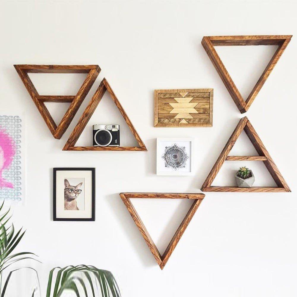 Set 5 rafturi triunghiulare din lemn pentru perete Ava