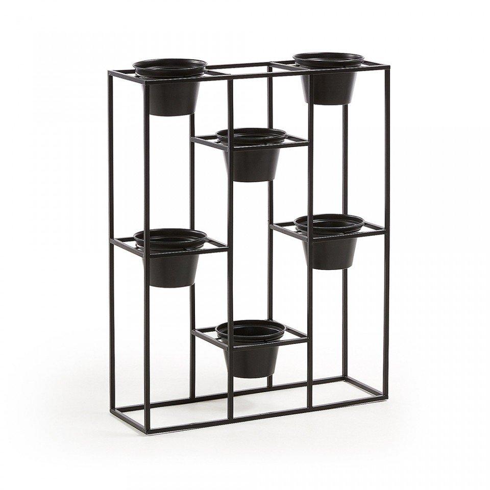 Set 6 ghivece negre cu suport de camera Hayworth La Forma