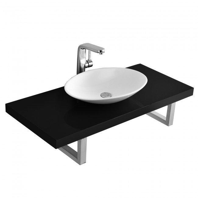 Set baie - blat cu lavoar  Elegance ceramica/MDF/otel, lavoar oval alb si blat negru