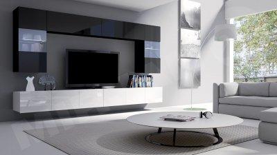 Set camera de zi Bralani I cu prindere pe perete, alb-negru, finisaj lucios