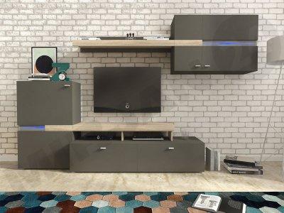 Set camera de zi Espace, comoda TV si dulapuri suspendate, fronturi lucioase, design modern, minimalist