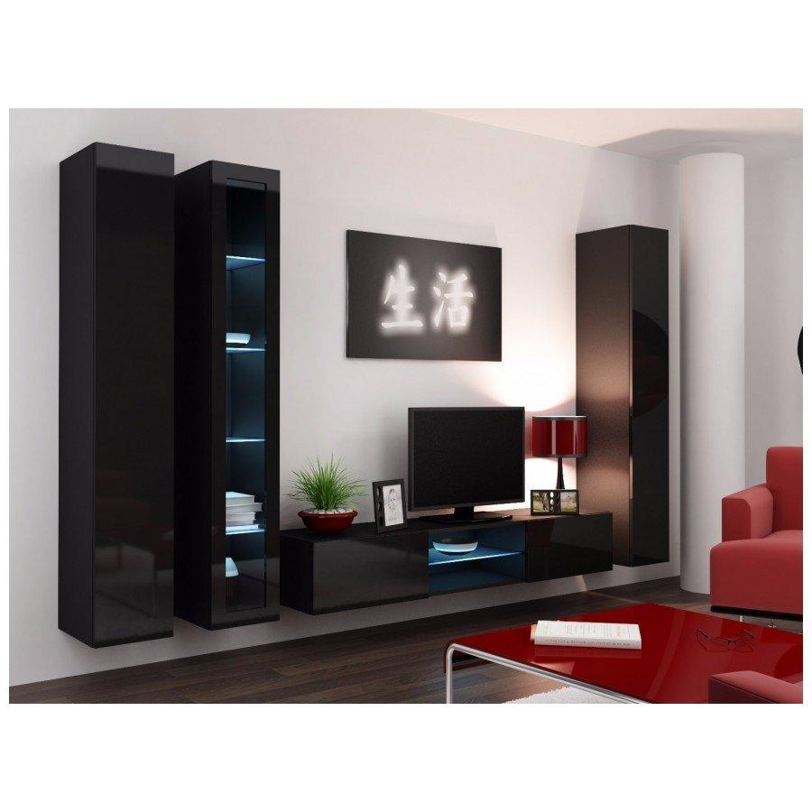 Set camera de zi Vigo 17 alb/negru lucios, design modern