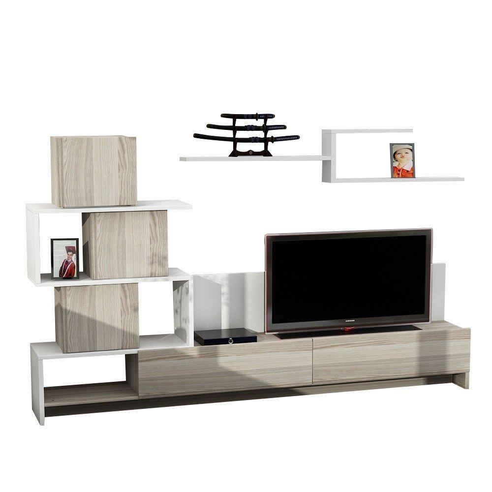 Set comodă TV și raft de perete Amore, alb-stejar