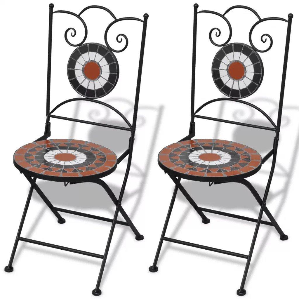 Set de 2 scaune din mozaic, culoare teracota și alb cu cadru din fier