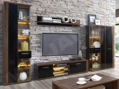 Set de mobilier Lombardo II, nuc-negru lucios, iluminare LED, design modern