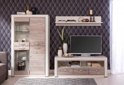 Set de mobilier Olivia IX, alb-crem, cu dulap cu vitrina si comoda TV