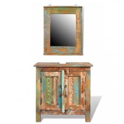 Set dulap din lemn reciclat cu oglindă