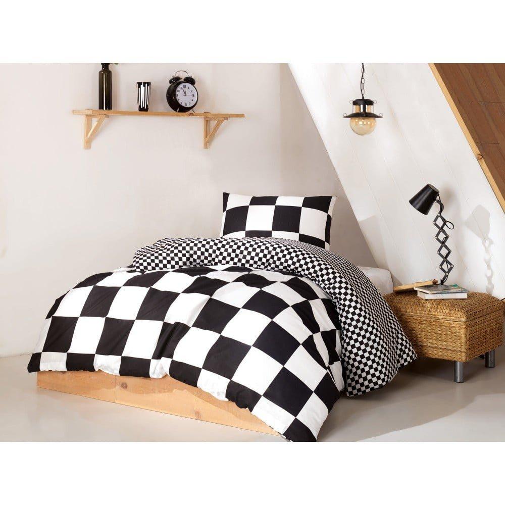 Set lenjerie și cearșaf din bumbac pentru pat single Prune, 160 x 220 cm, carouri alb-negru