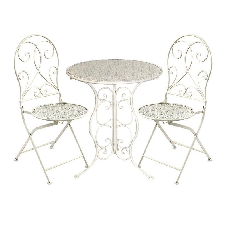 Set masa cu 2 scaune vintage di fier, ivory,  60X70 cm