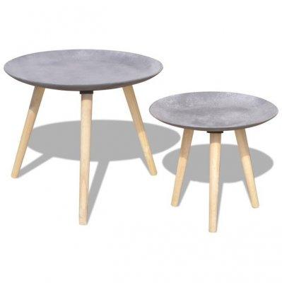 Set masă laterală/masă de cafea, 2 piese, 55 & 44 cm, gri beton