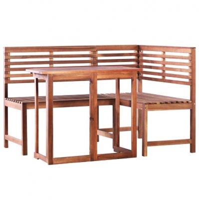 Set masă și colțar de balcon, 2 piese, lemn masiv de acacia, stil rustic