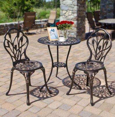 Set Masa si scaune gradina, terasa, balcon, veranda - Negru antichizat Bronz