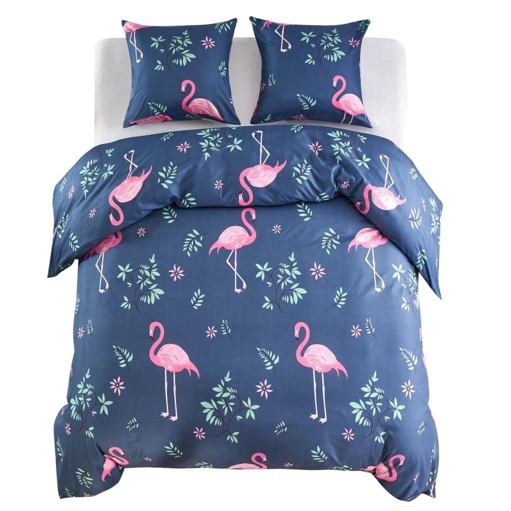Set micro-satin, husă pilotă/perne  3 piese flamingo 200x200/80x80 cm bleumarin/roz