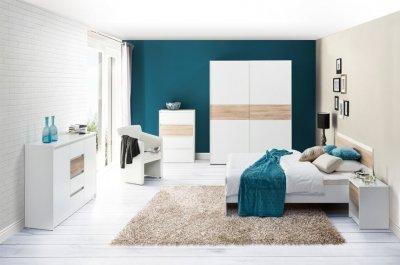 Set mobila dormitor 6 piese Venetia, alb/stejar sonoma