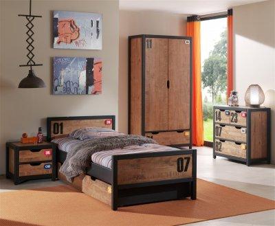Set Mobila dormitor din lemn de pin, pentru copii 5 piese Alex Brown