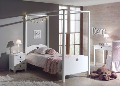 Set Mobila dormitor din lemn de pin si MDF, pentru copii 3 piese Amori White