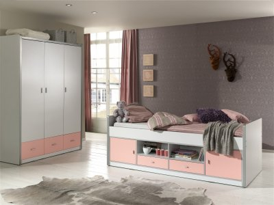 Set mobila dormitor din pal, pentru copii 2 piese Bonny White, alb/roz, pat cu spatii de depozitare