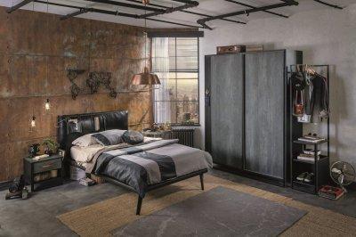 Set Mobila dormitor din pal si metal, pentru tineret 4 piese Dark Metal Black / Graphite, negru/grafit