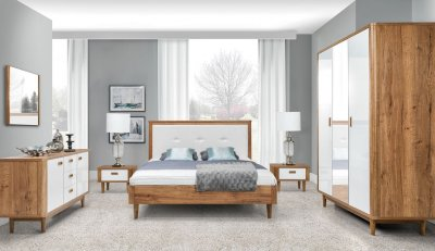 Set mobila dormitor Florence, Stejar Halifax 3D, pat cu lasa d edepozitare si tablie tapitata