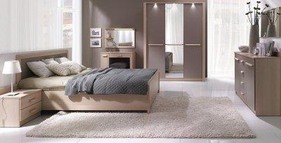 Set Mobila Dormitor London, Stejar Lindberg, design modernm dulap cu usa oginda