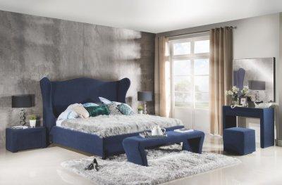 Set Mobila Dormitor Tiffany, tapitata cu stofa , albastru
