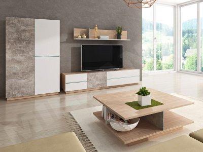 Set mobilă Enil II in doua culori cu mobila tv si masuta de cafea