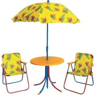 Set mobila gradina pentru copii masa rotunda cu 2 scaune si umbrela culoare galbena