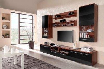 Set mobila living Luna, maro inchis cu negru lucios, design modern