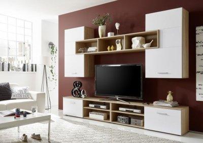 Set mobila living PANEEL SONOMA, din lemn de stejar cu usi albe