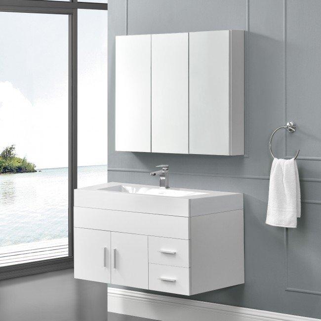 Set mobilier baie - dulap oglinzi, dulap-masca chiuveta - PAL, melaminat, alb